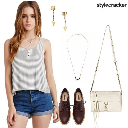 Top Shorts Slingbag Oxfords Necklace Casual  - StyleCracker