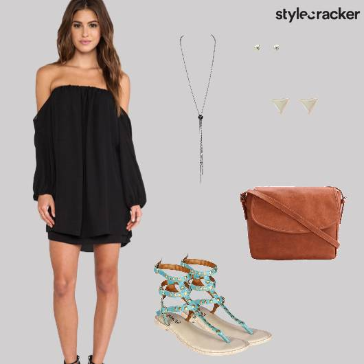 Coldshoulder Dress Flats Crossbodybag Beach - StyleCracker