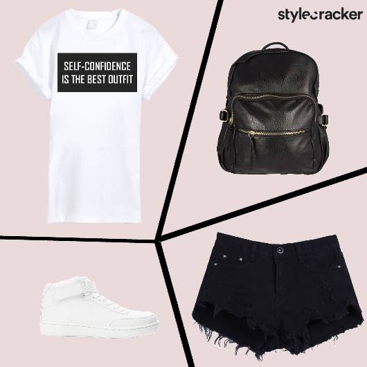 Tshirt Shorts Backpack Hightops Casual Backtoschool - StyleCracker