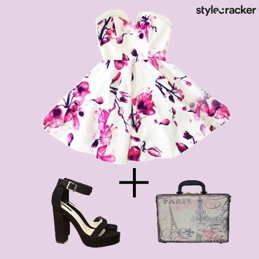 Dress Floral Blockheels Bag Summer  - StyleCracker