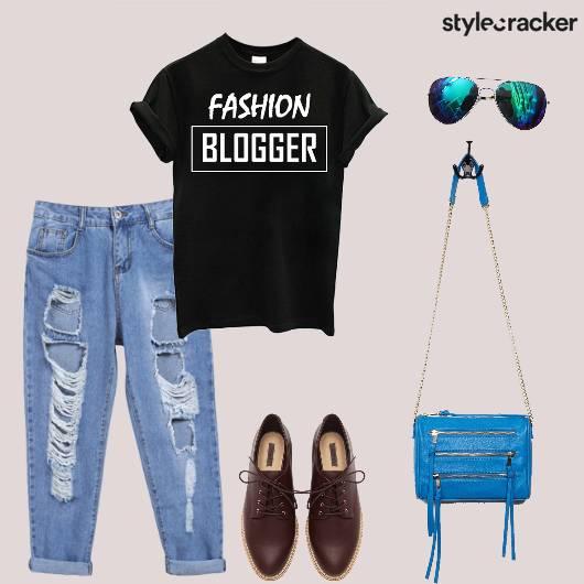 Tshirt Jeans Distressed Oxfords Slingbag Casual - StyleCracker