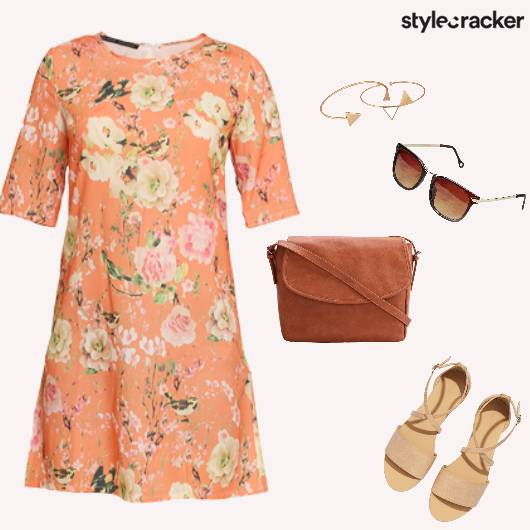 Summer Printed Dress Floral WarmColours - StyleCracker