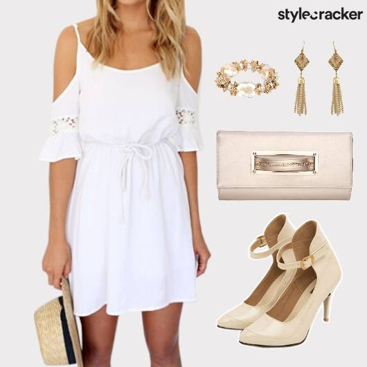 PristineWhite Dress Clutch Accessories Lunch - StyleCracker