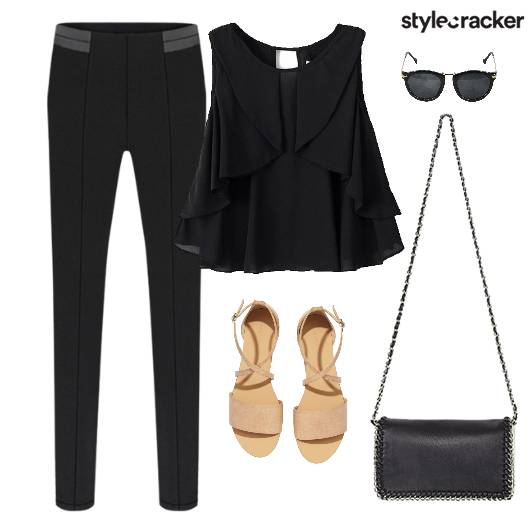 Layer Top Slim Pants Flats SlingBag Movie - StyleCracker