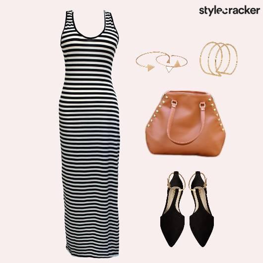 Stripes Dress Ballet Flats Lunch Casuals - StyleCracker