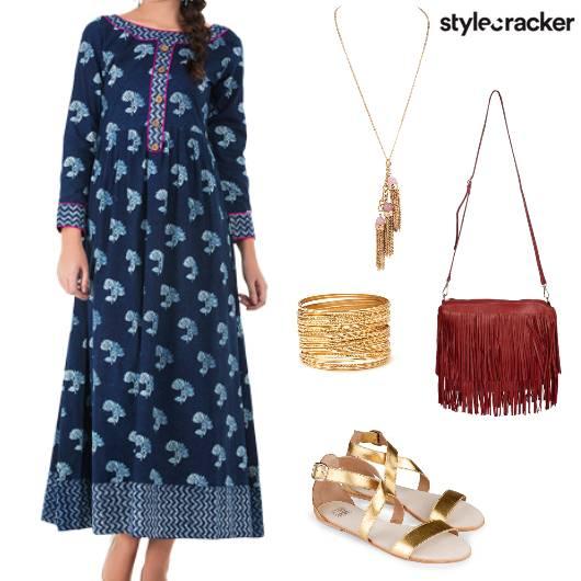 Summer Prints Dresses StrappyFlats Fringe  - StyleCracker