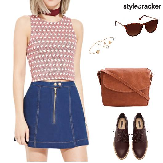 Casual Print Croptop Tan College - StyleCracker