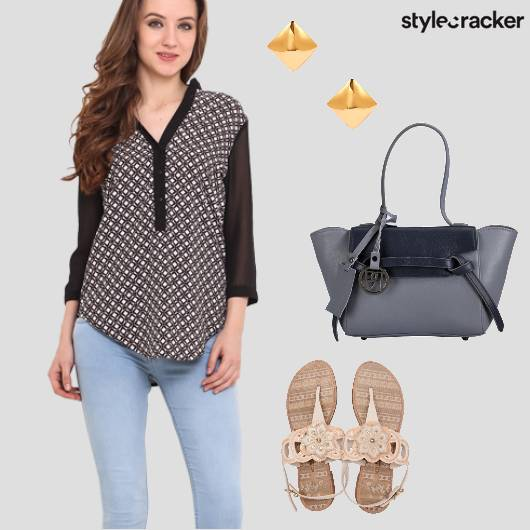 Blouse StructuredBag Flats Denims Casual - StyleCracker