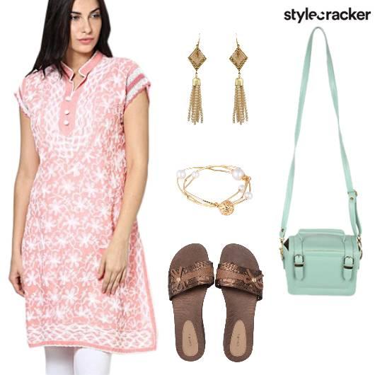 Kurta Embroiderey Flats BoxBag Indian  - StyleCracker