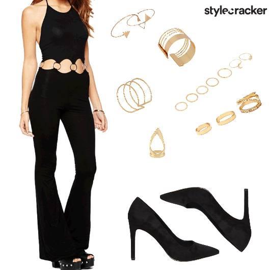 Jumpsuit Black NightOut Glam Party - StyleCracker