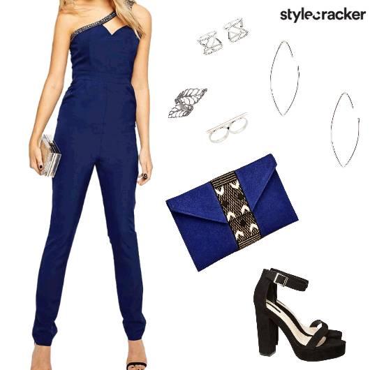 Blue Jumpsuit NightOut Glam Party - StyleCracker