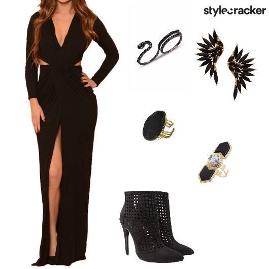 Black Gown CutOut Slit Party Glam NightOut - StyleCracker