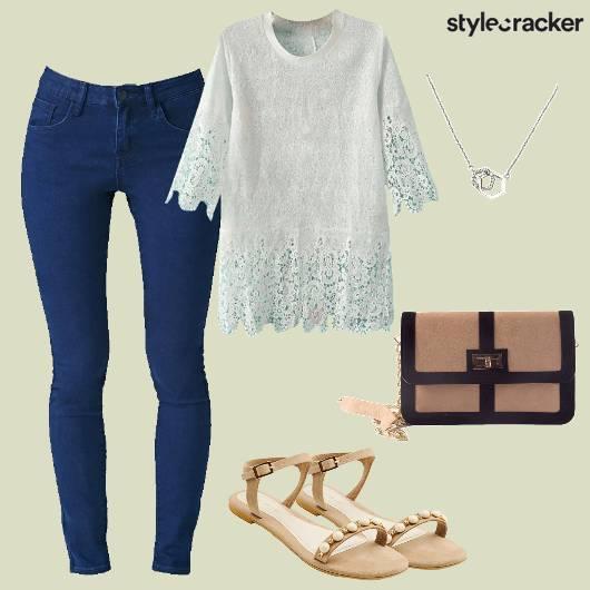 Casual Denim Lace Top Flats Necklace  - StyleCracker
