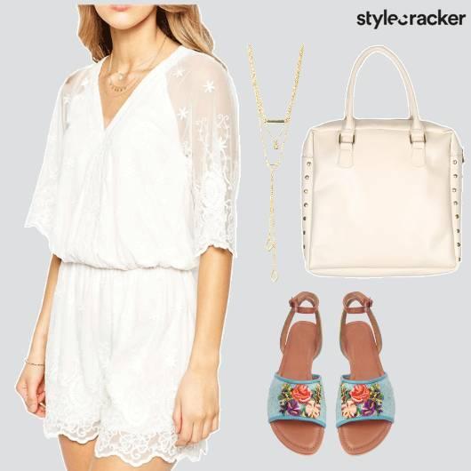 Summer Playsuit White Floral Flats Comfy - StyleCracker