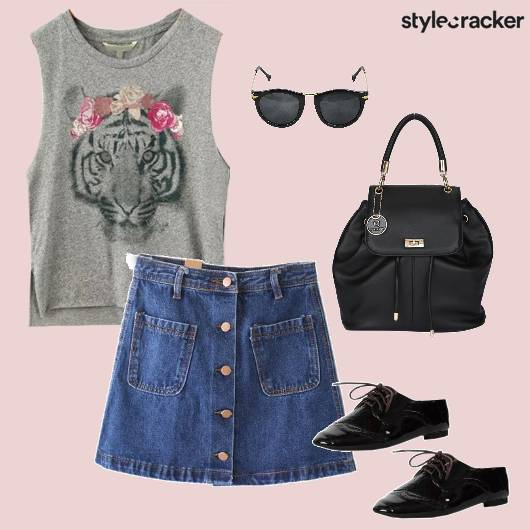 Denimskirt Aline Tshirt oxfords Casual backtoschool - StyleCracker