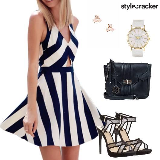 Dress Stripes Heels Studs Summer - StyleCracker