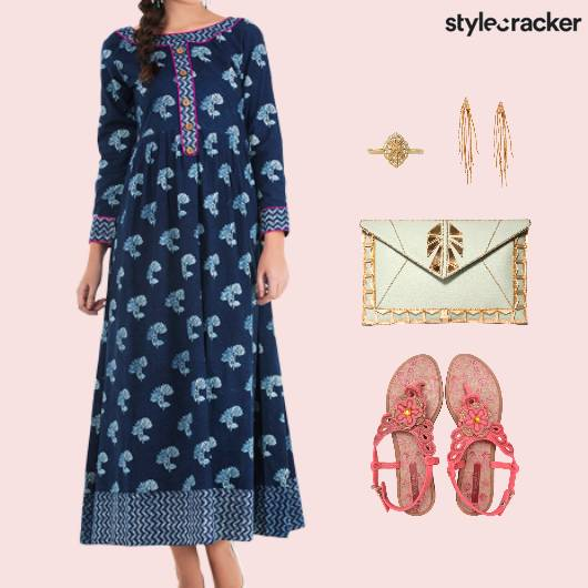 Printed Dress Flats Clutch Accessories - StyleCracker