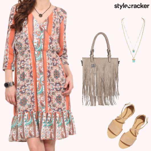 Printed Summer Dress Fringed Bag - StyleCracker