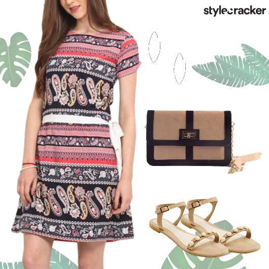 Printed Dress Flats Casual  - StyleCracker