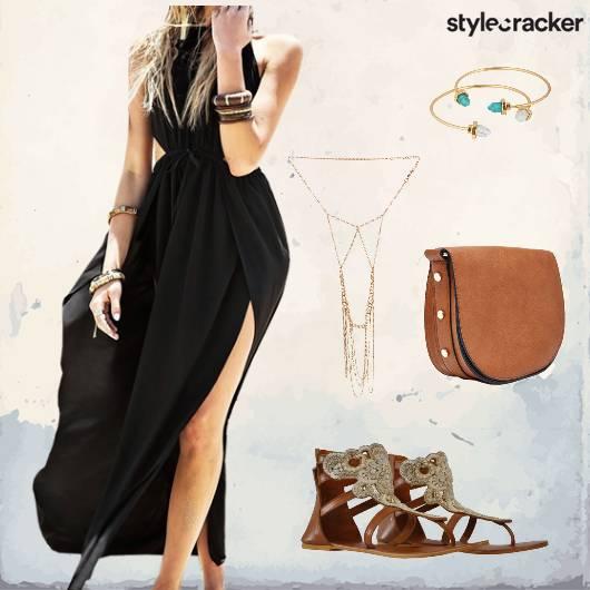 Dress Maxi Flats Layered Necklace Casual - StyleCracker