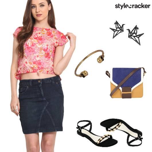 Skirt CropTop Flats SlingBag Bracelet Casual  - StyleCracker