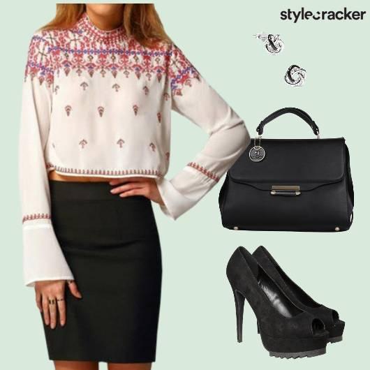 Embroidered Blouse Peeptoes Workwear - StyleCracker