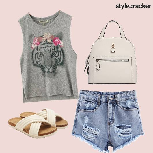 Denim Shorts Top Backpack Travel Flats - StyleCracker