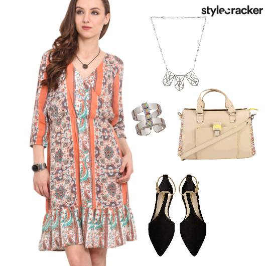 Dress Wrap Prints Flats Casual Lunch DayOut  - StyleCracker