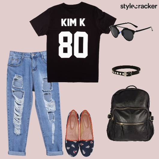 Tshirt Jeans Distressed Flats Backpack Casual - StyleCracker