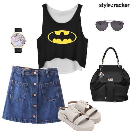 Croptop Skirt Flatforms Backpack Watch Sunglasses Backtoschool - StyleCracker