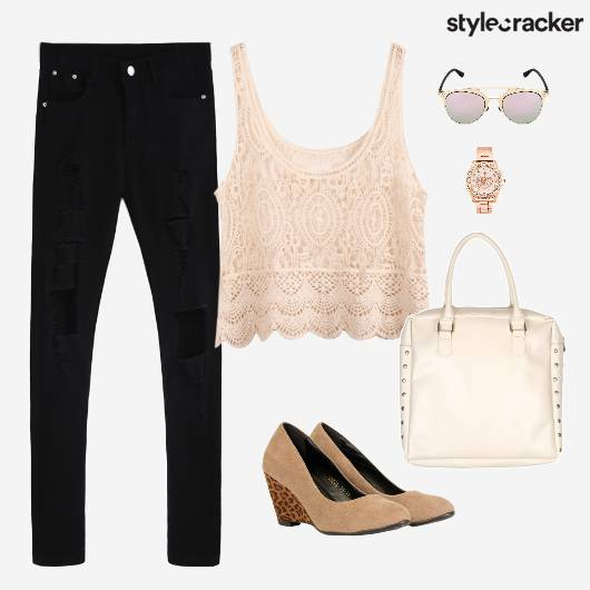 Lace Top Ripped Denim Wedges Lunch - StyleCracker