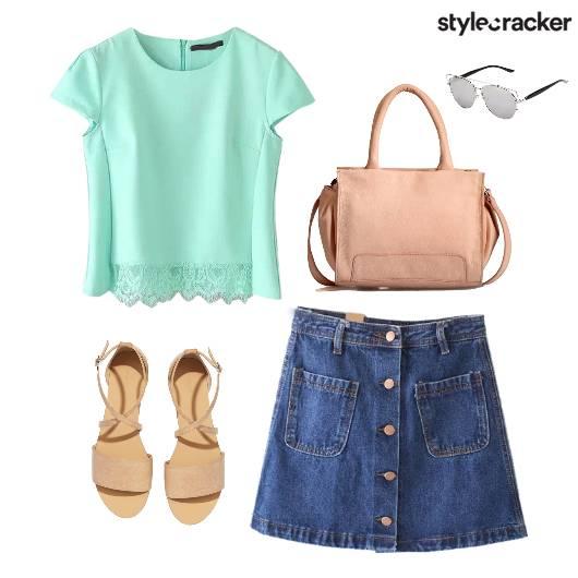 Lace Top Denim Skirt Flats Footwear  - StyleCracker
