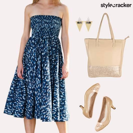 Abstract Print Dress Nude Pumps Lunch - StyleCracker