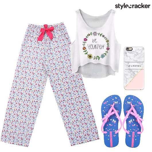 Crop Top Flipflop Pyjama Comfy - StyleCracker