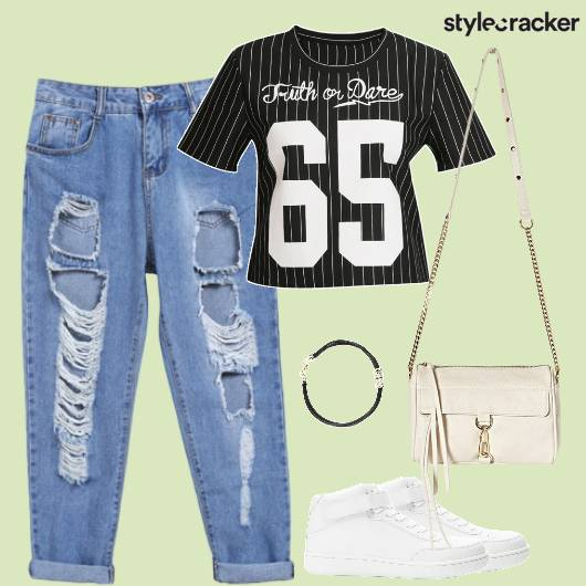Ripped Jeans Top Casual Collegewear - StyleCracker