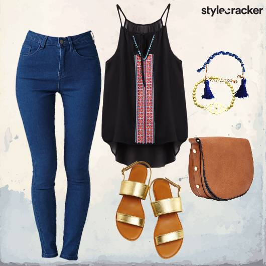 Casual Top College Wear Denim Goldflats  - StyleCracker