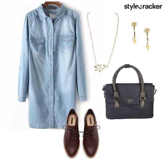 Denim Dress Oxfords Slingbag Brunch - StyleCracker