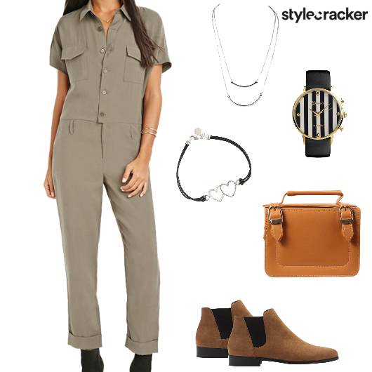 Jumpsuit Boots Satchel Watch Bracelet Travel - StyleCracker