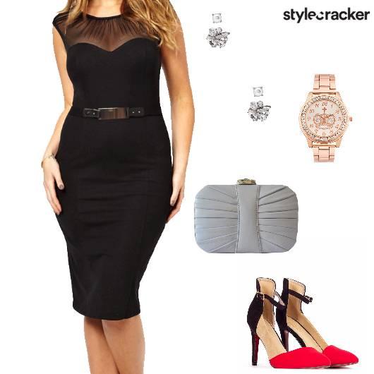 Dress Bodycon Heels Clutch Studs Party - StyleCracker