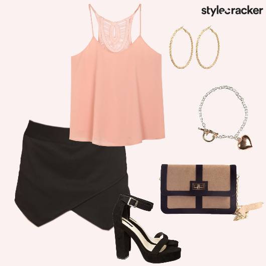 Top Skirt Blockheels Slingbag Hoops Party - StyleCracker