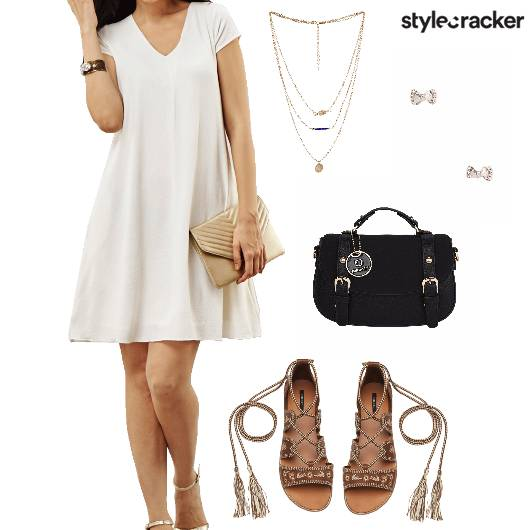 Dress Flats Satchel LayeredNecklace Brunch - StyleCracker