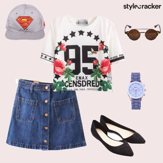 Croptop Denims Flats Cap Sunglasses Casual - StyleCracker