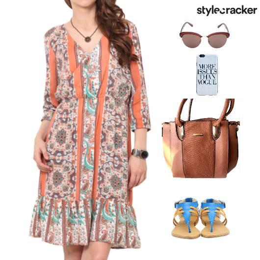 Printed Dress Flats  Lunch  - StyleCracker