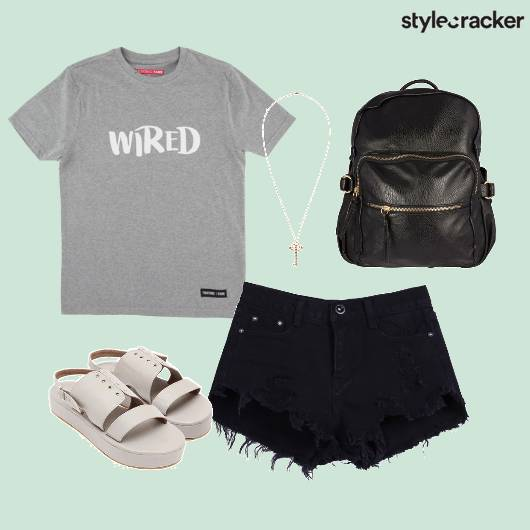 Tee Ripped Shorts Backpack Flatforms  - StyleCracker