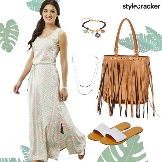 Maxi Dress Flowy Printed Casual  - StyleCracker