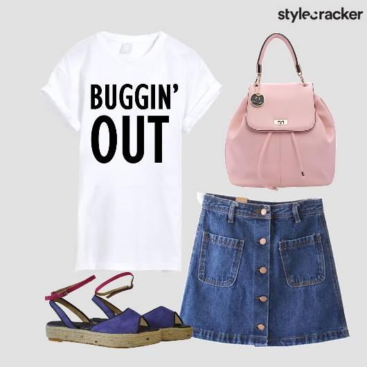 Backtoschool Tee Denim Skirt Backpack - StyleCracker