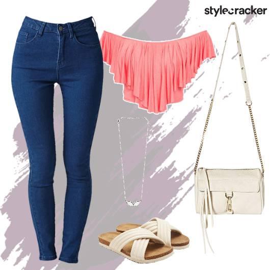 Denim Offshoulder Flats Necklace Summer - StyleCracker