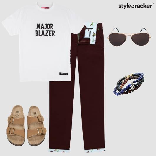 Chinos Birkenstocks SloganTees Bracelets Sunnies Causal - StyleCracker
