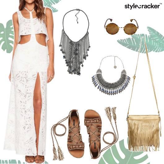 CutOut White Lace MaxiDress Fringe - StyleCracker