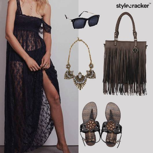 Tassels Fringe Lace Sheer MaxiDress Party - StyleCracker